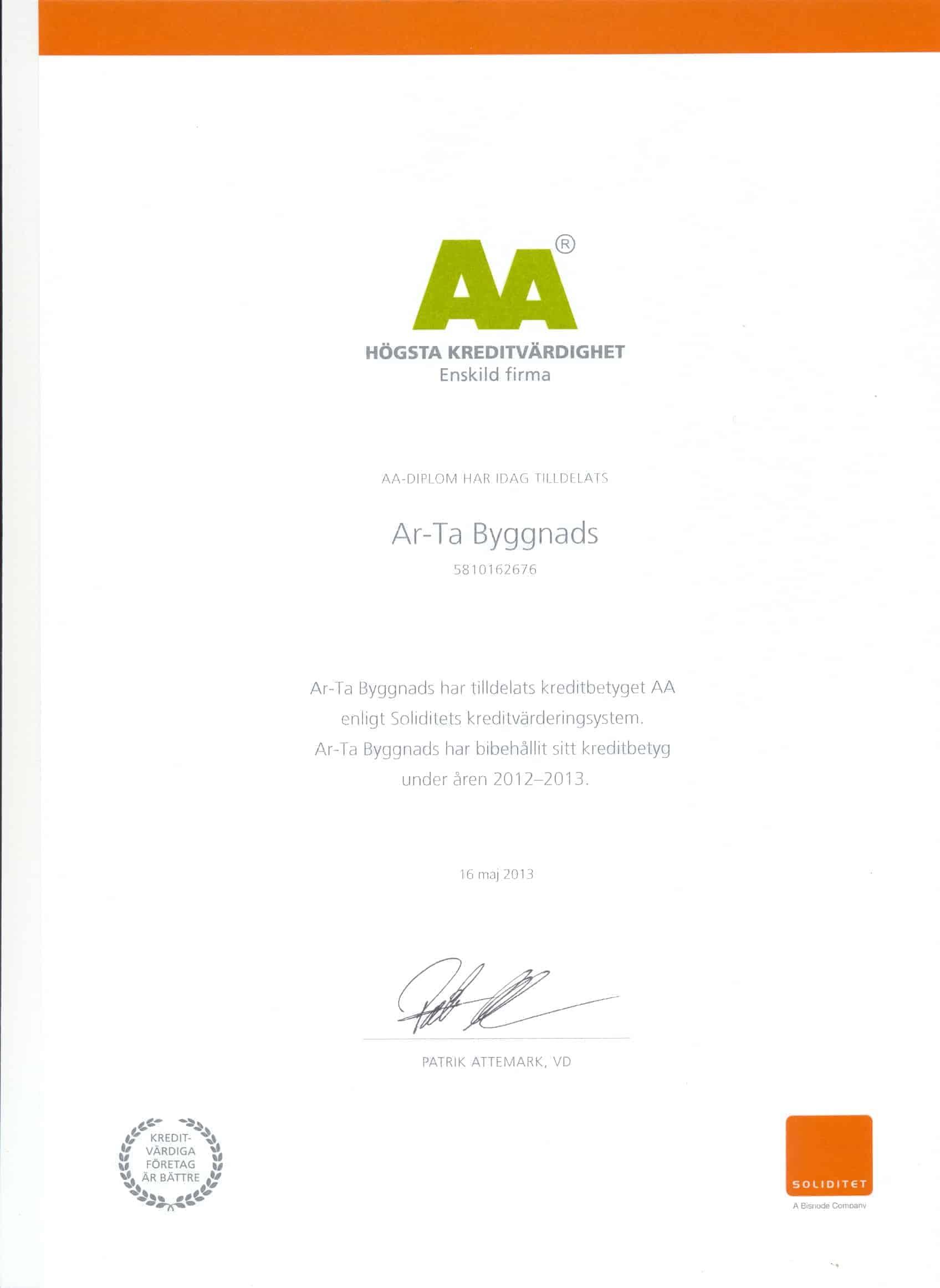"""Referensjobb """"AA"""" utfört av Ar-Ta byggnads"""