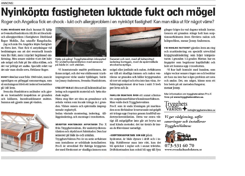 """Referensjobb """"luktsmitta mögel """" utfört av Svenska Husdoktorn AB"""