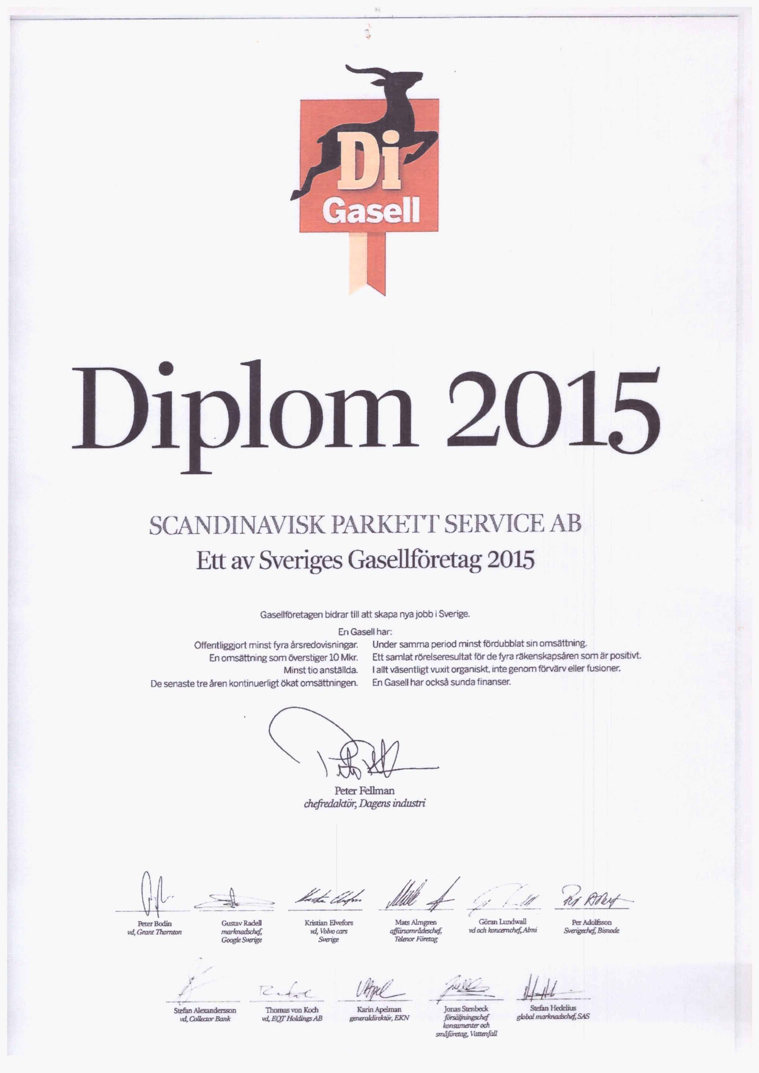 """Referensjobb """"Di Gasell Diplom"""" utfört av Scandinavisk Bygg & Parkettservice AB"""