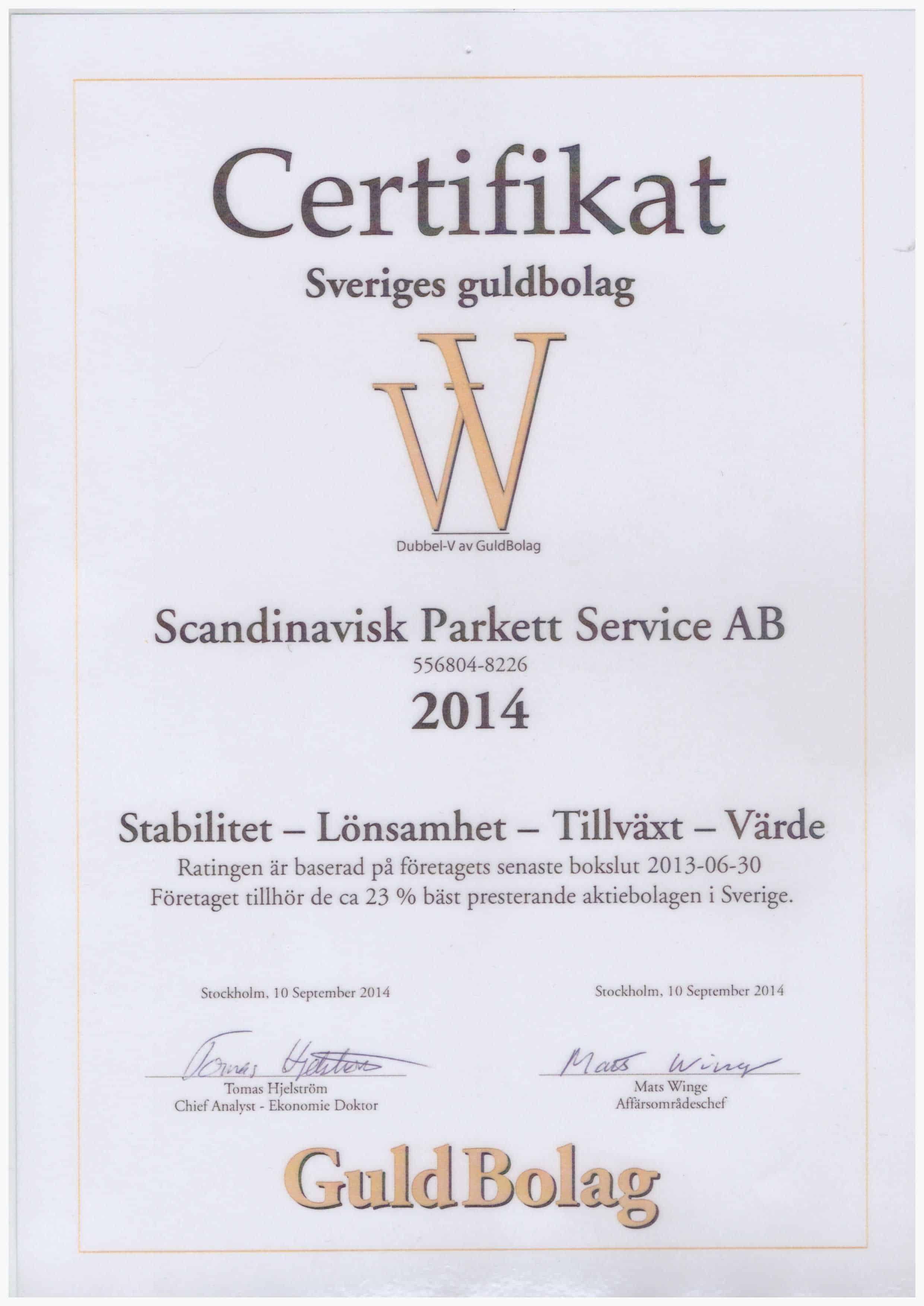 """Referensjobb """"Guldbolag Diplom"""" utfört av Scandinavisk Bygg & Parkettservice AB"""
