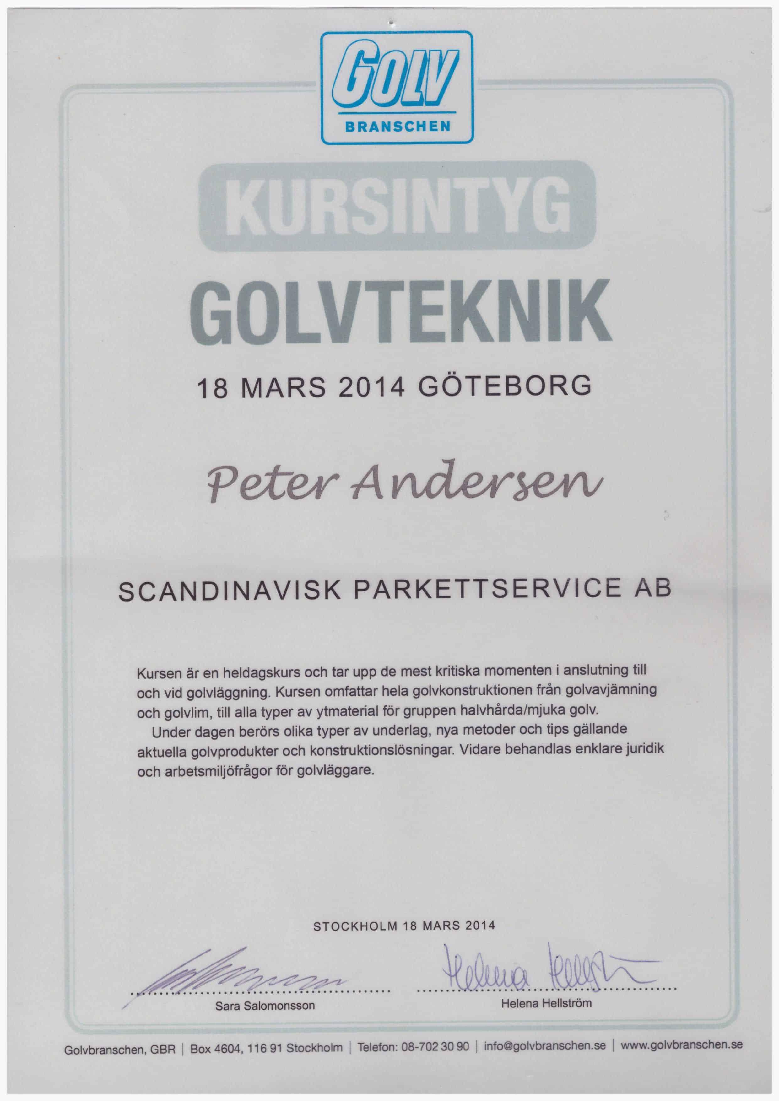 """Referensjobb """"Golvteknik GBR"""" utfört av Scandinavisk Bygg & Parkettservice AB"""