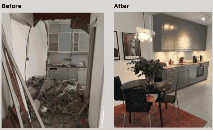 """Referensjobb """"Before / After"""" utfört av AB 3A Bygg och inredning"""
