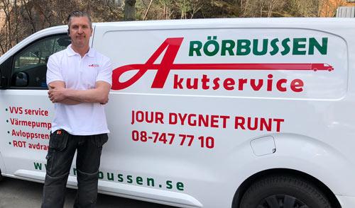 """Referensjobb """"Jour dygnet runt!"""" utfört av Rörbussen Akutservice Stockholm AB"""