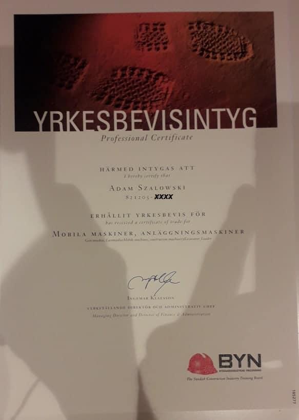 """Referensjobb """"YRKESBEVIS ANLÄGGNINGSMASKINER"""" utfört av Klag Entreprenad AB"""