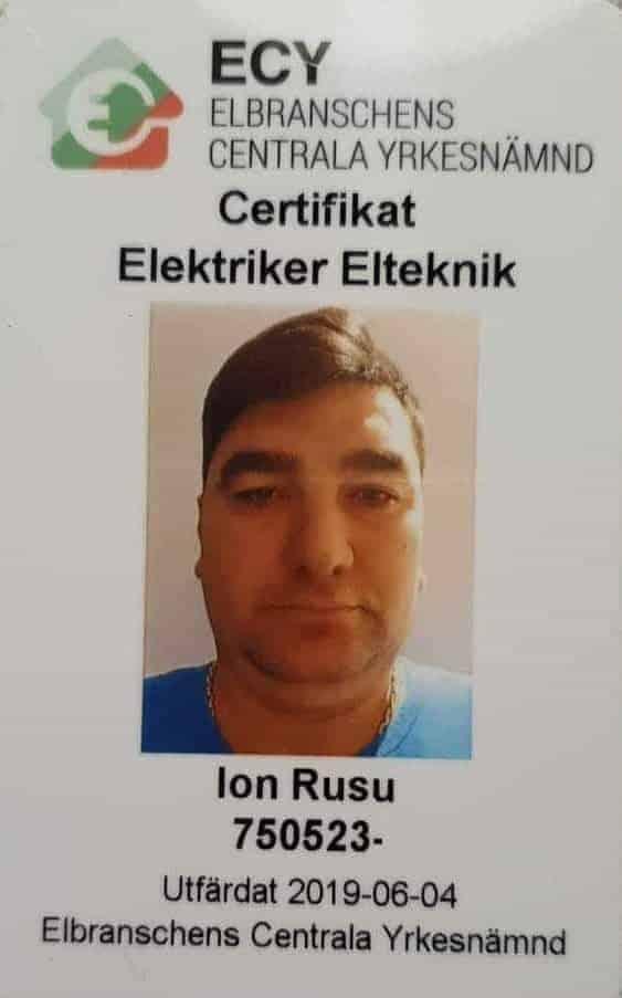 """Referensjobb """"Certifikat Elektriker Elteknik"""" utfört av Bad och Bygg i Vendelsö AB"""