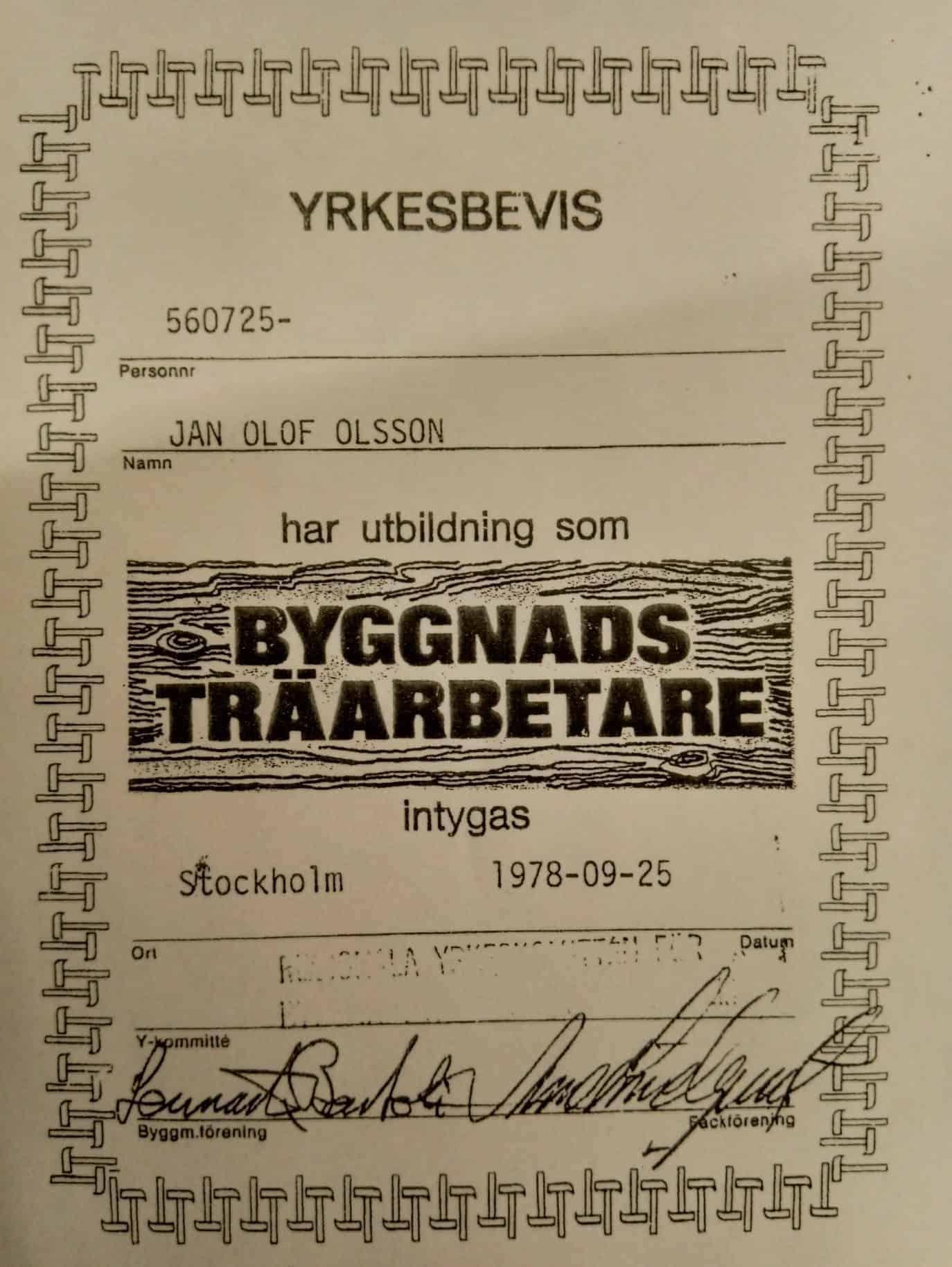 """Referensjobb """"YRKESBEVIS"""" utfört av Design Gudösnickaren"""