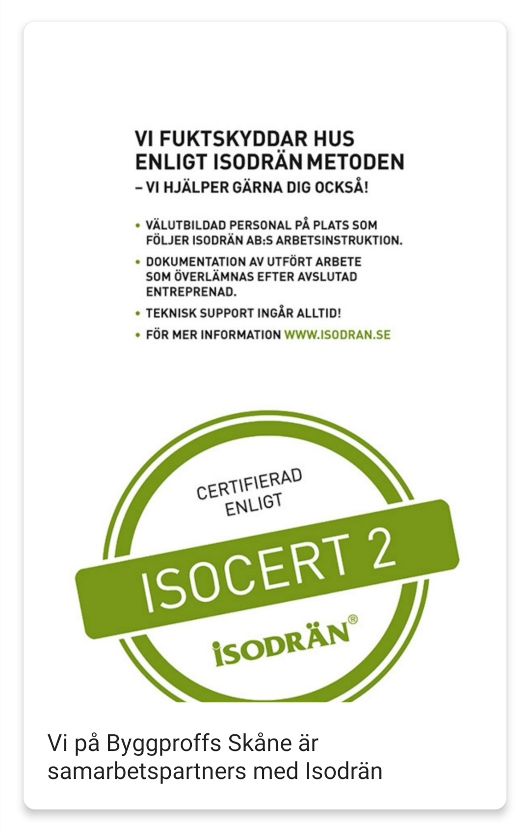 """Referensjobb """"ISOCERT 2 """" utfört av Byggproffs Skåne AB"""