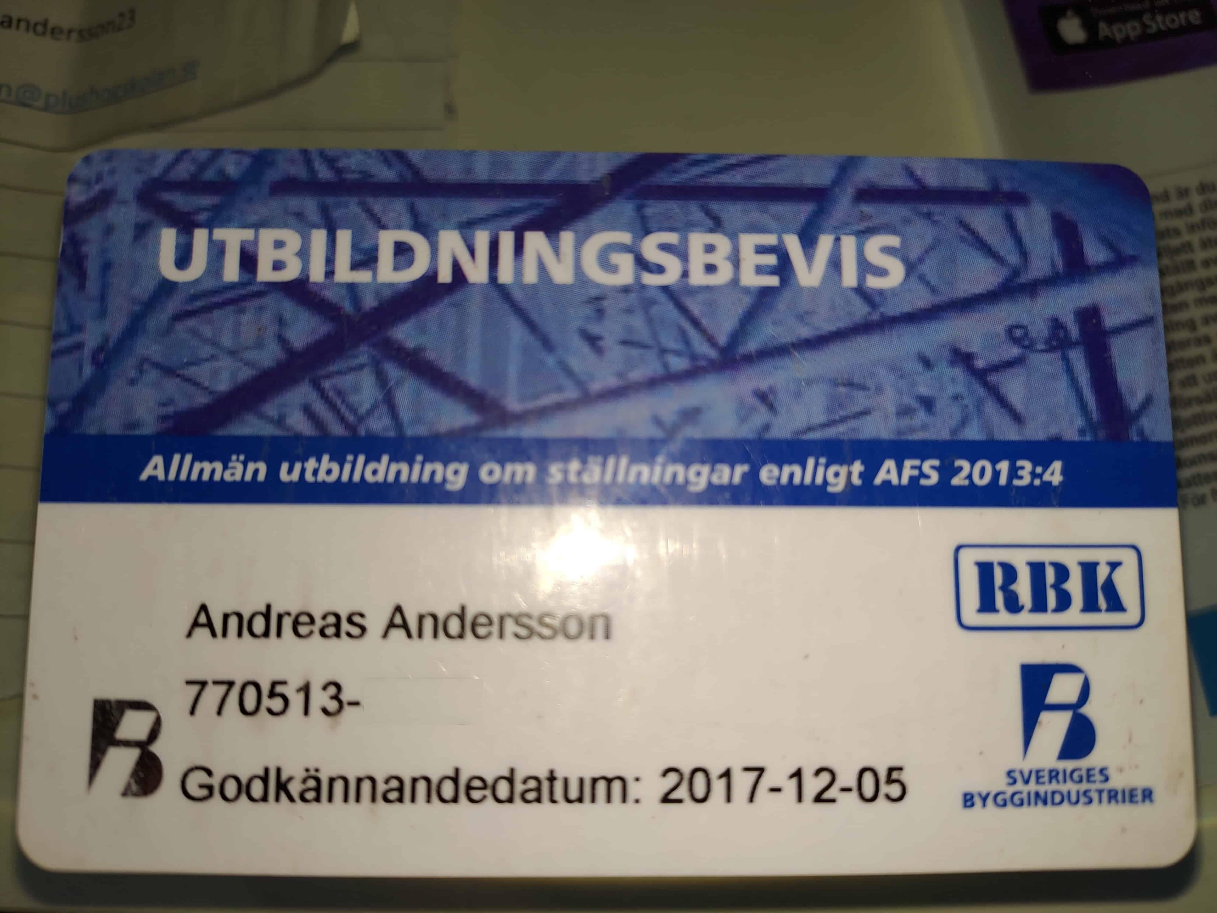"""Referensjobb """"UTBILDNINGSBEVIS"""" utfört av Utängs Bygg AB"""
