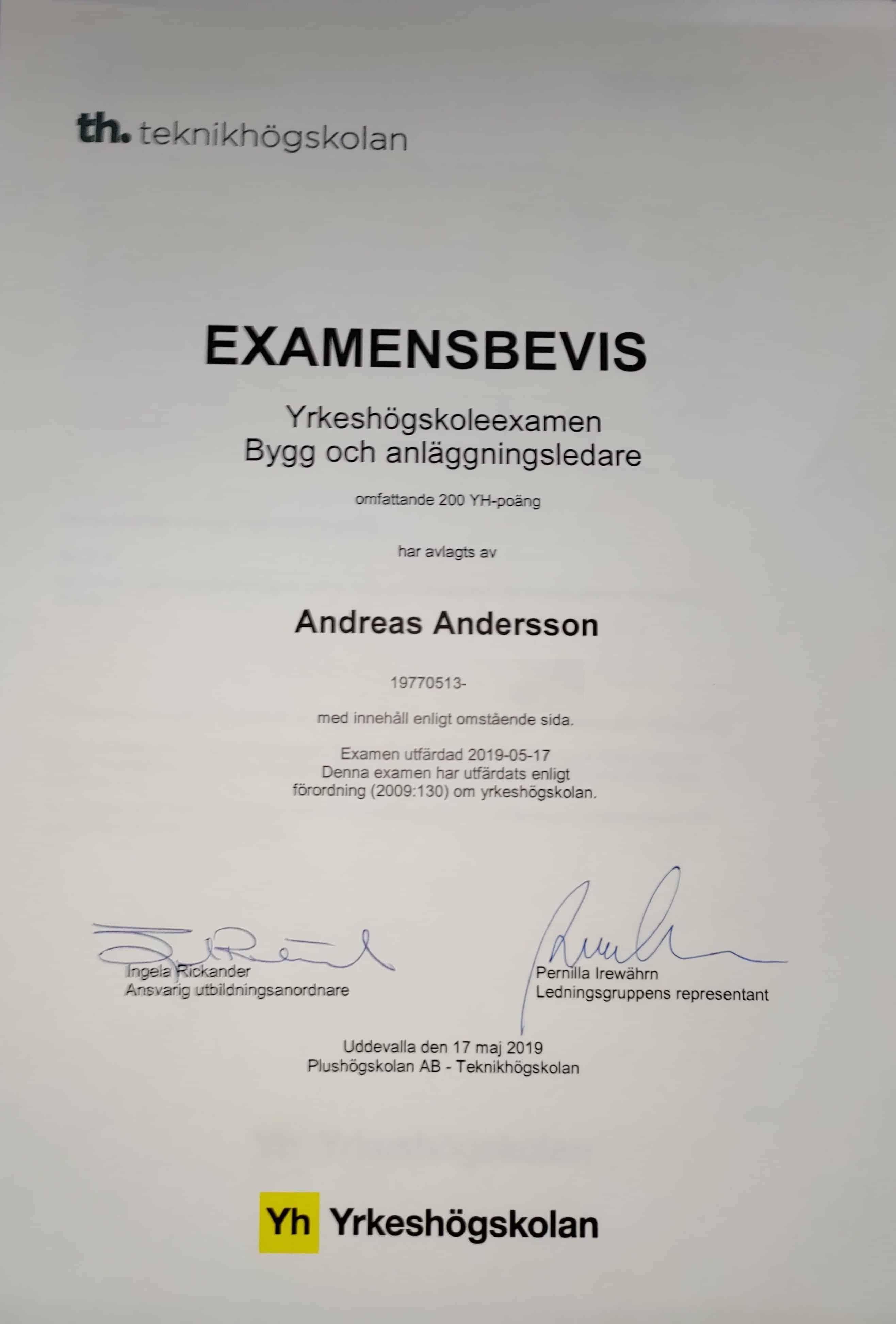 """Referensjobb """"EXAMENSBEVIS"""" utfört av Utängs Bygg AB"""