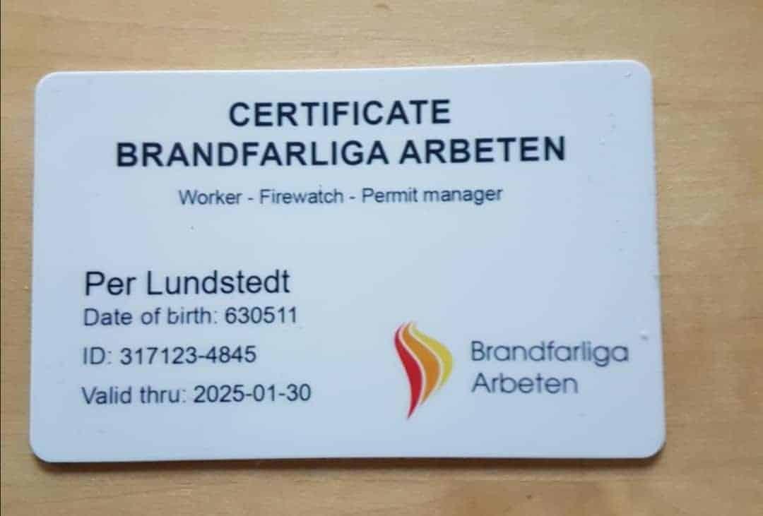 """Referensjobb """"Certifikat - Heta Arbeten"""" utfört av AB Skrå Bygg & Smide"""
