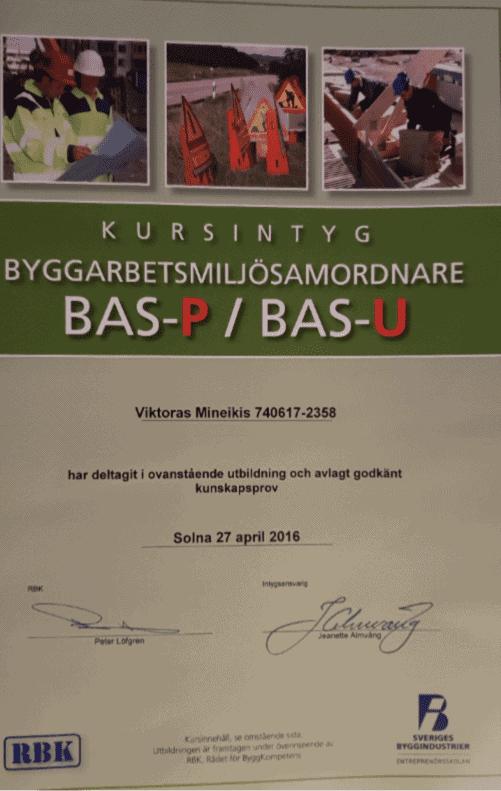 """Referensjobb """"BAS P/U"""" utfört av West Trade Corporation Stockholm AB"""