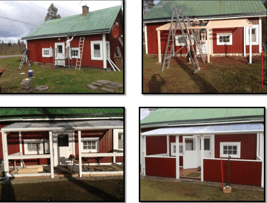 """Referensjobb """"Konstruktion av en terass med tak på ett fritidshus"""" utfört av Snickare Alexander"""