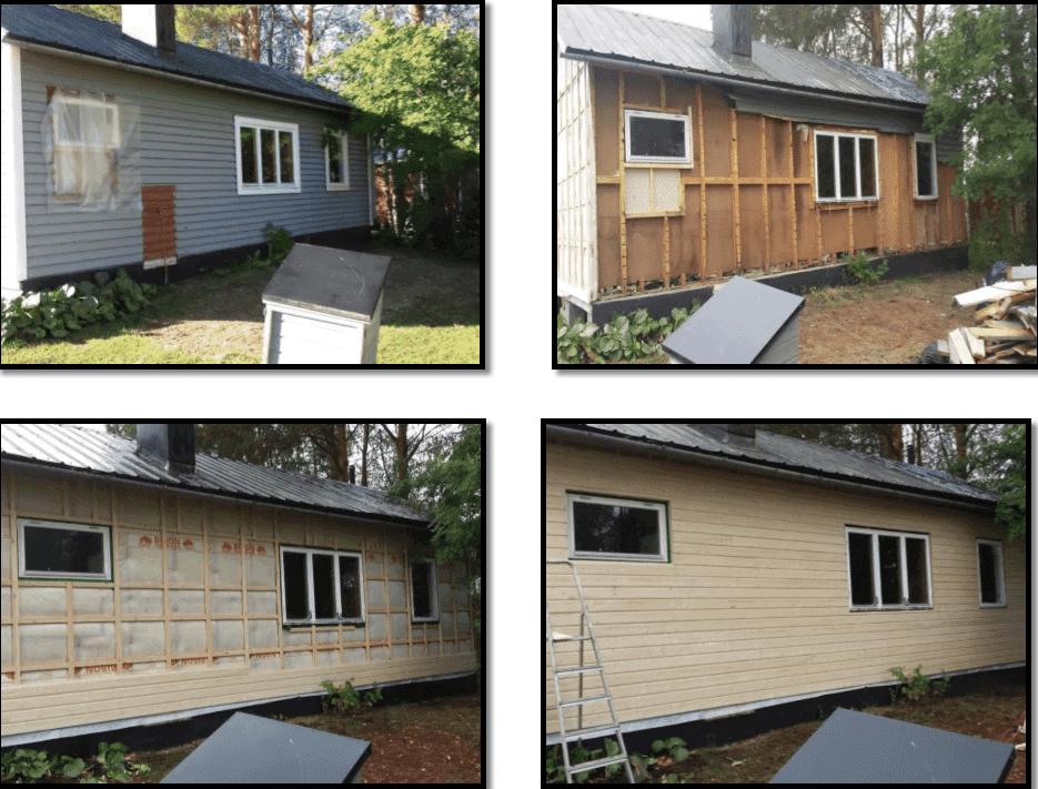"""Referensjobb """"Renovering av en fasad med ny isolering på ett sommarhus"""" utfört av Snickare Alexander"""