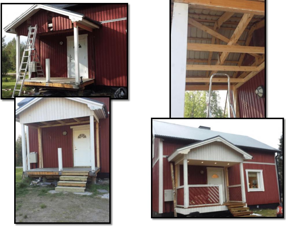 """Referensjobb """"Renovering av ett ytterdörrtak med terrass """" utfört av Snickare Alexander"""