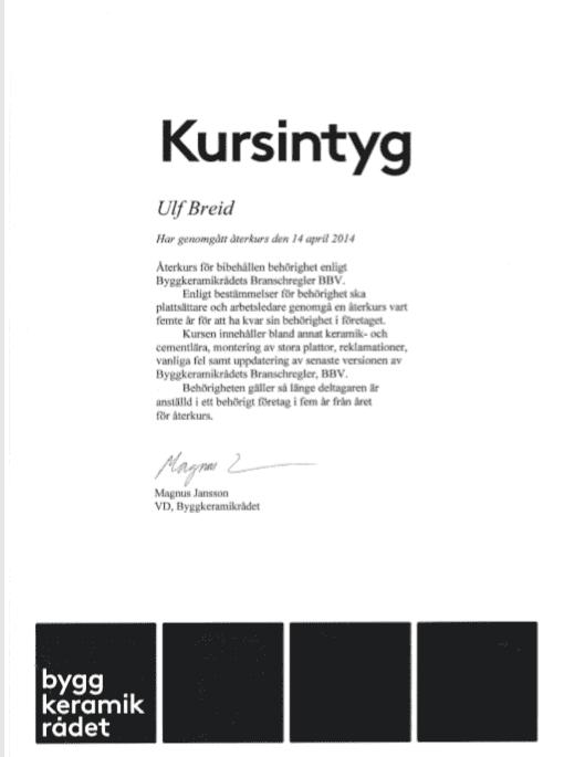 """Referensjobb """"Bygg keramik rådet 2014"""" utfört av Breids bygg & Platt"""