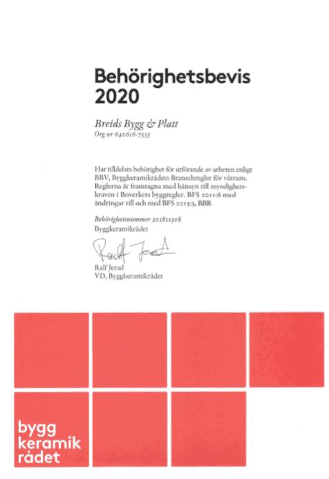 """Referensjobb """"Bygg keramik rådet 2020"""" utfört av Breids bygg & Platt"""