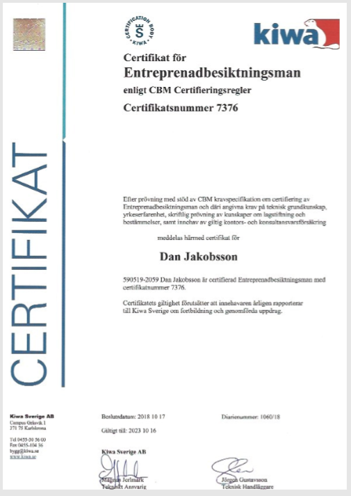 "Referensjobb ""Certifikat"" utfört av Jakobsson Konsult AB"