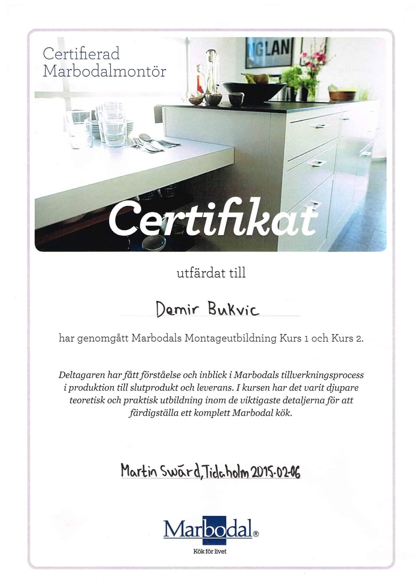 """Referensjobb """"Marbodal Certifikat"""" utfört av DNB Bygg & Fastighetsservice AB"""