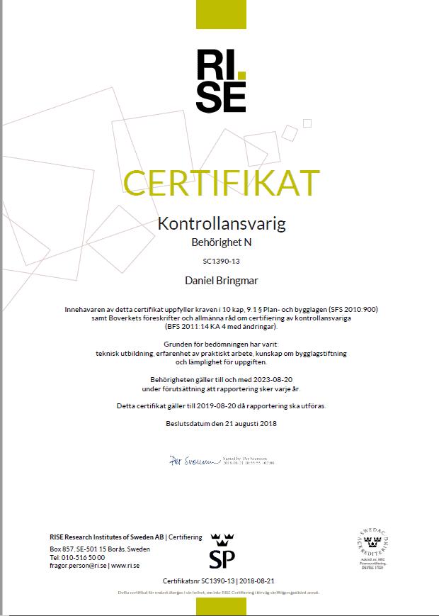 """Referensjobb """"Certifiering"""" utfört av Bringma Projektstyrning & Huskontroll AB"""