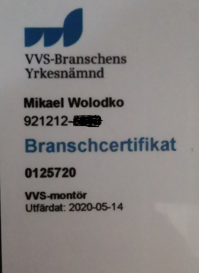 "Referensjobb ""Certifikat"" utfört av MW R Norrköping AB"