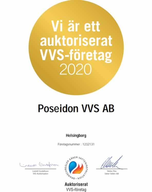 """Referensjobb """"Auktoriserat VVS-Företag 2020"""" utfört av Poseidon VVS AB"""