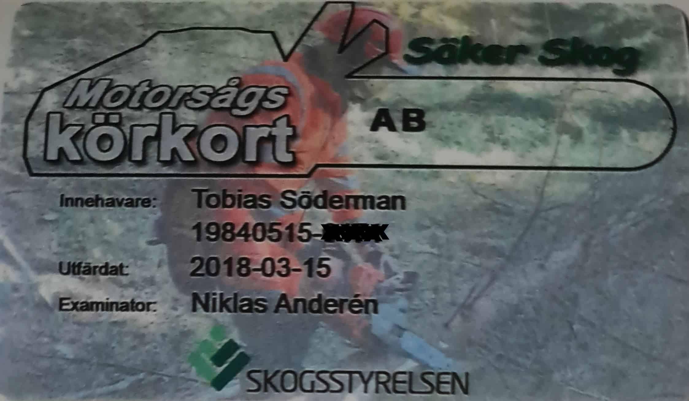 """Referensjobb """"Motorsågskörkort"""" utfört av Söderfalks Mark och Anläggning AB"""