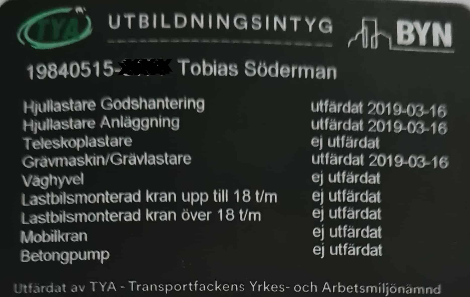 """Referensjobb """"Utbildningsintyg"""" utfört av Söderfalks Mark och Anläggning AB"""