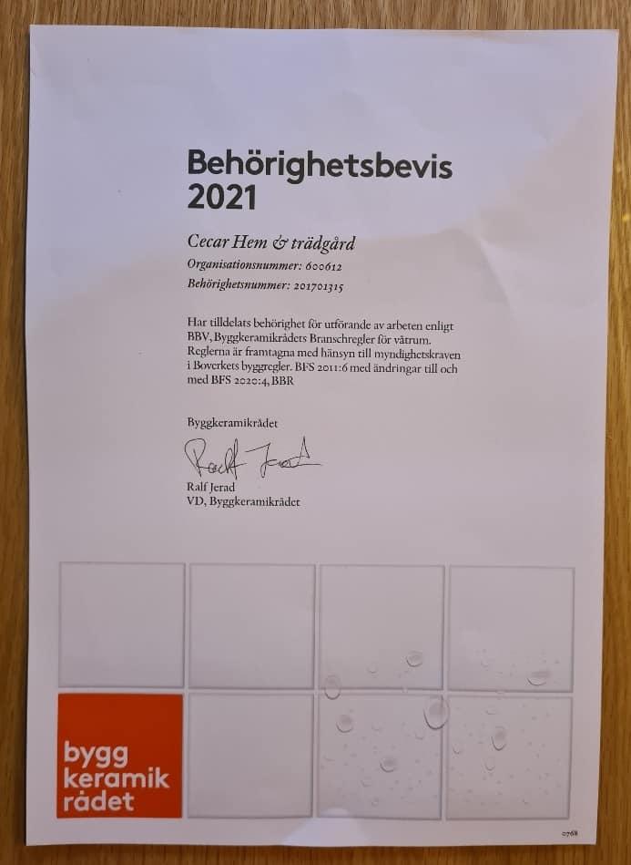 """Referensjobb """"BKR, behörighet 2021"""" utfört av CECAR HEM & TRÄDGÅRD"""