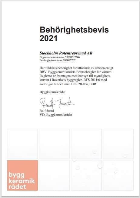"""Referensjobb """"BKR Behörighetsbevis 2021"""" utfört av Stockholm Rotentreprenad AB"""