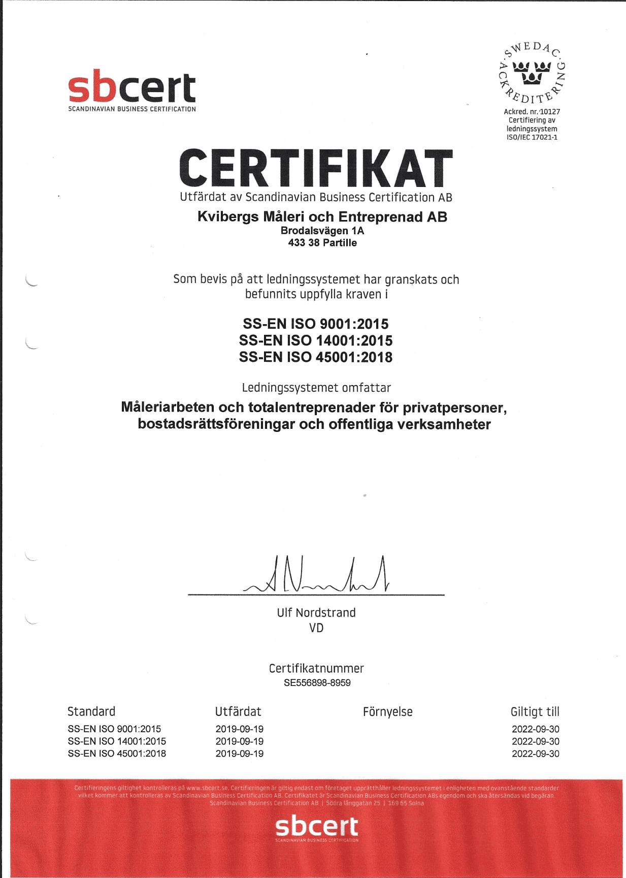 """Referensjobb """"ISO-certifierade"""" utfört av Kvibergs Måleri och Entreprenad AB"""