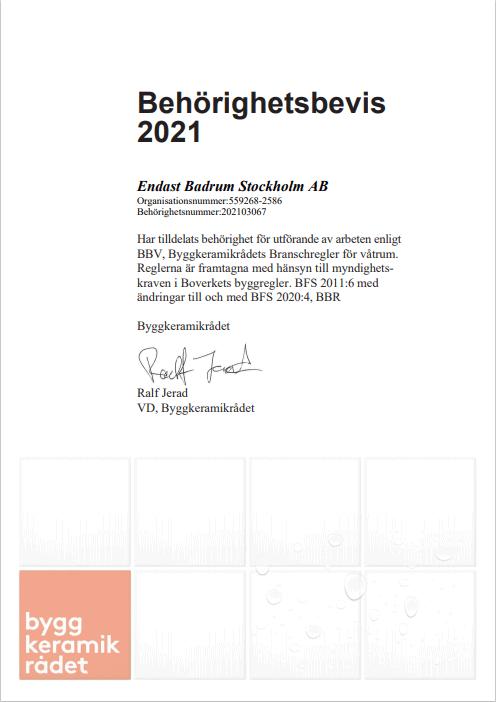 """Referensjobb """"Behörighetsbevis BKR"""" utfört av Endast Badrum Stockholm AB"""