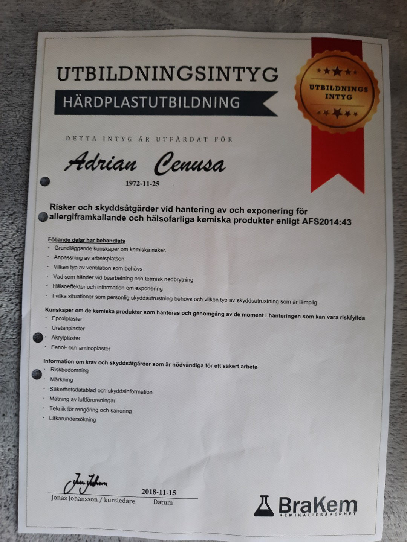 """Referensjobb """"Intyg härdplastutbildning"""" utfört av Toom Bygg 2020 AB"""