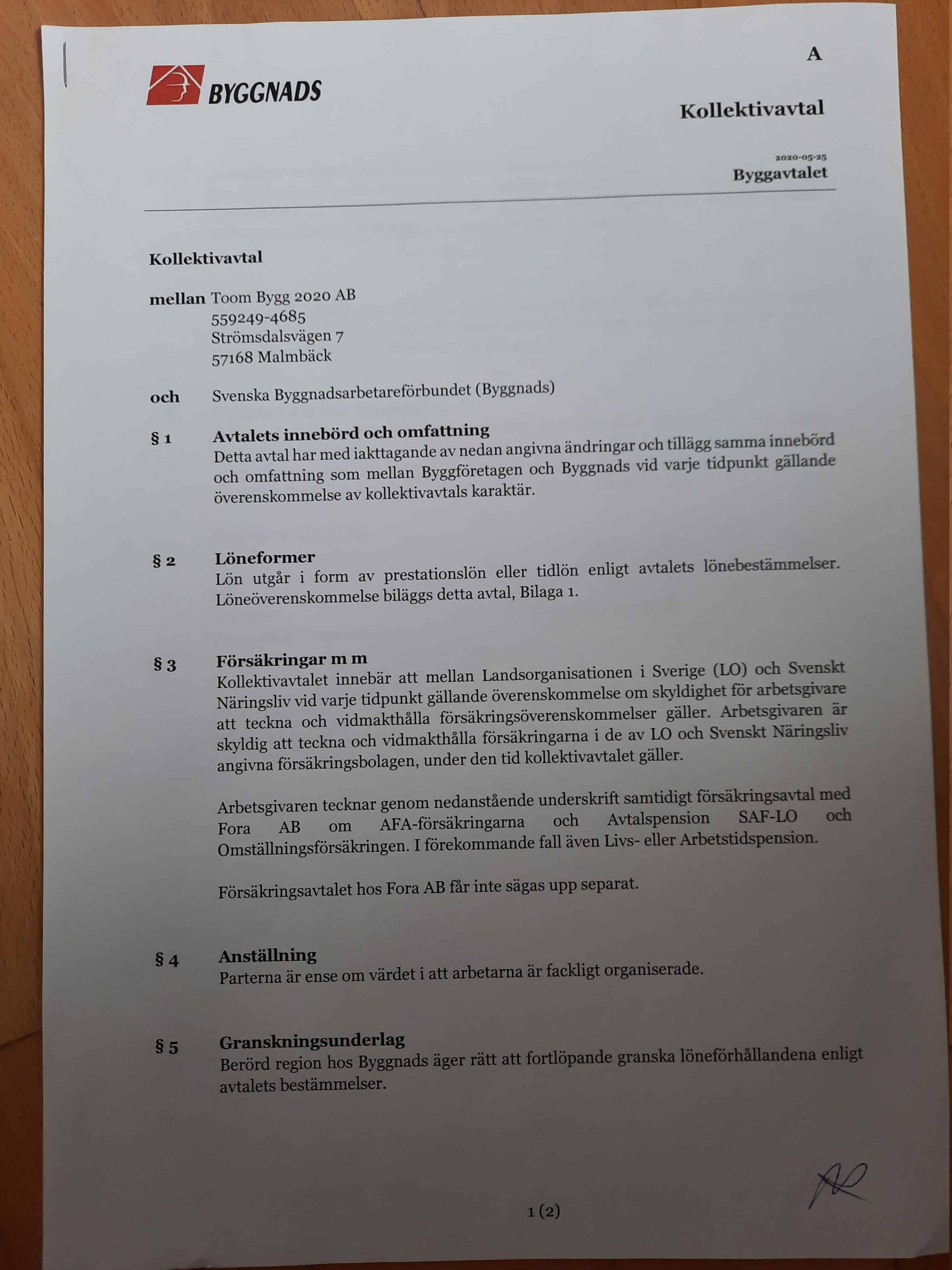 """Referensjobb """"Kollektivavtal sid 1"""" utfört av Toom Bygg 2020 AB"""