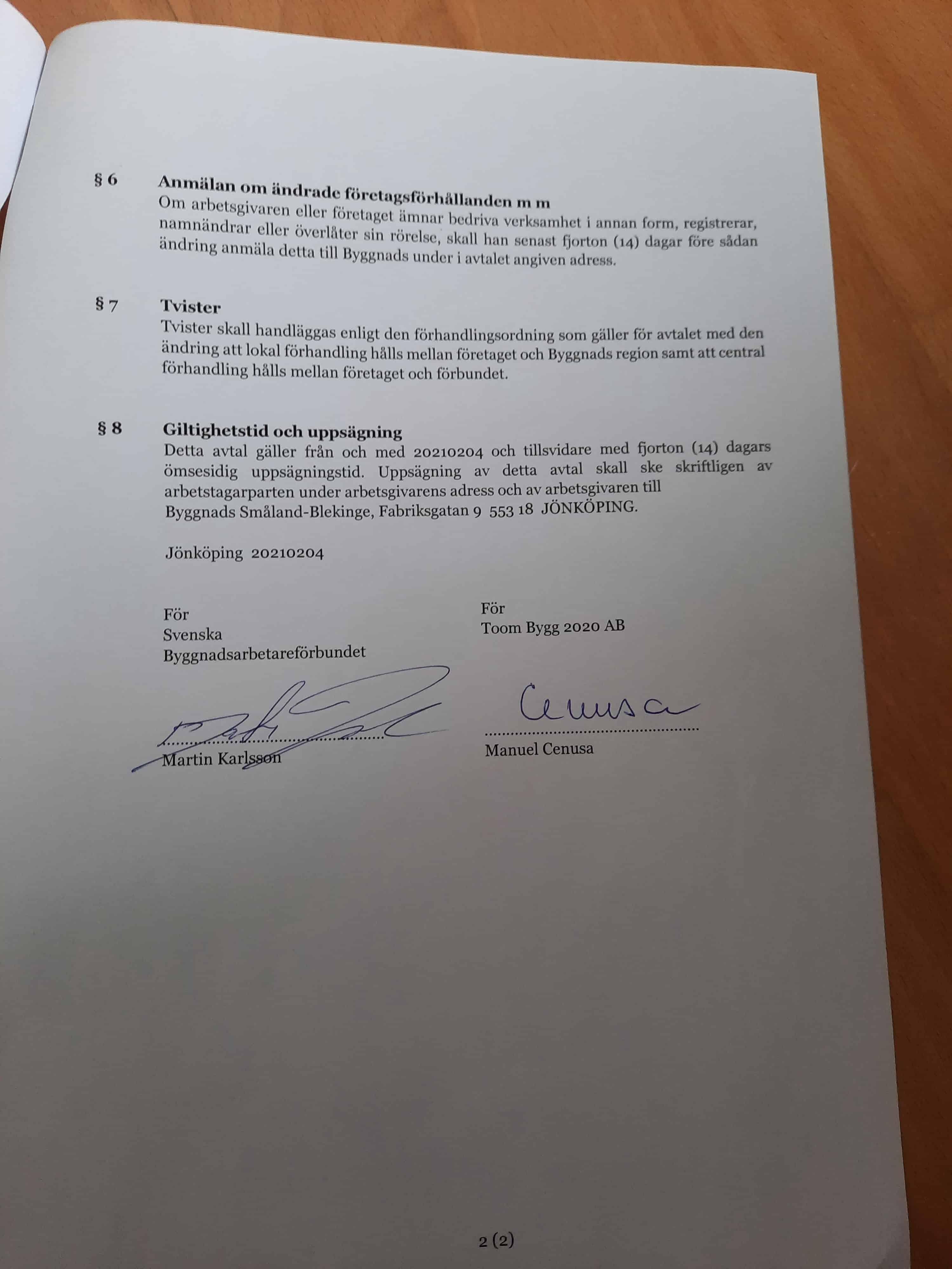 """Referensjobb """"Kollektivavtal sid 2"""" utfört av Toom Bygg 2020 AB"""