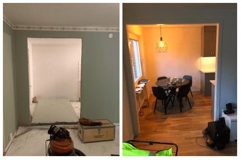 """Referensjobb """"Öppning av vägg och nytt Ikea kök (före/efter)"""" utfört av A2 Bygg & Entreprenad"""