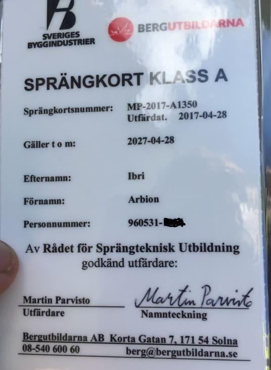 """Referensjobb """"Certifikat - Sprängkort"""" utfört av RAW Berg & Anläggning Sverige AB"""