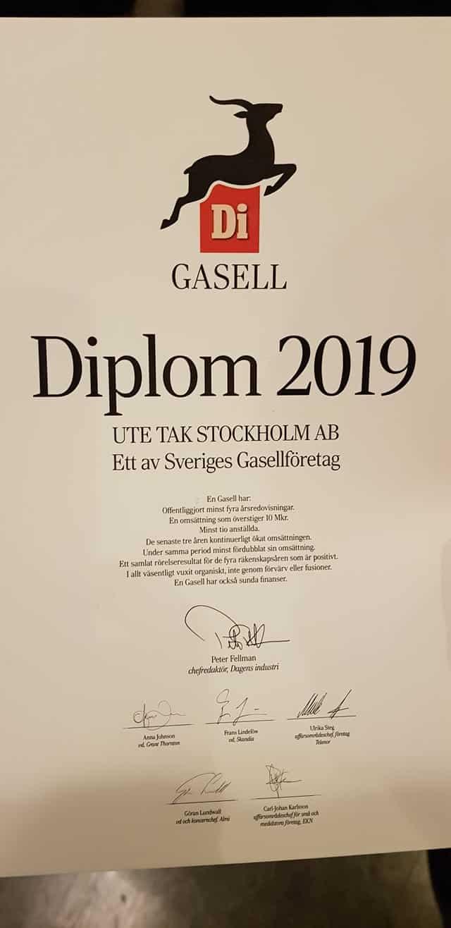 """Referensjobb """"Di Gasell 2019 """" utfört av UTE Tak Stockholm AB"""