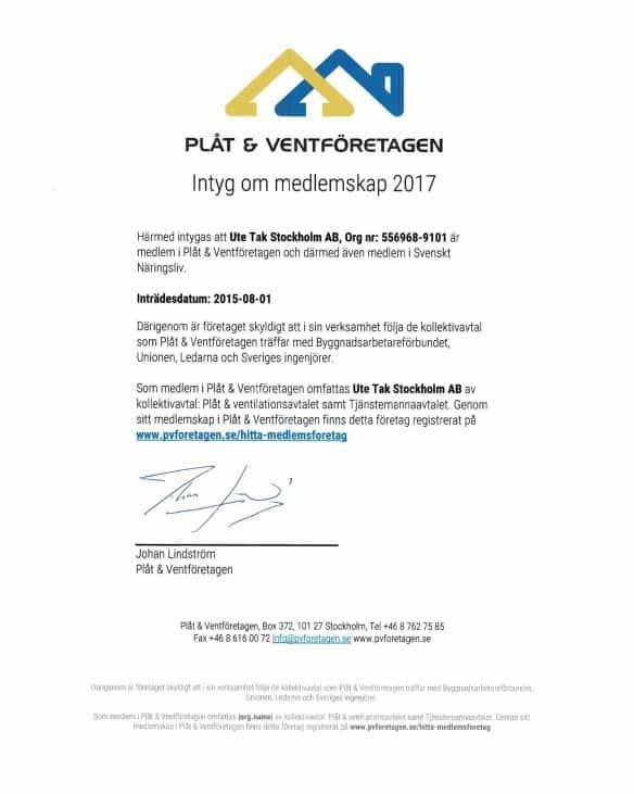 """Referensjobb """"Certifikat"""" utfört av UTE Tak Stockholm AB"""