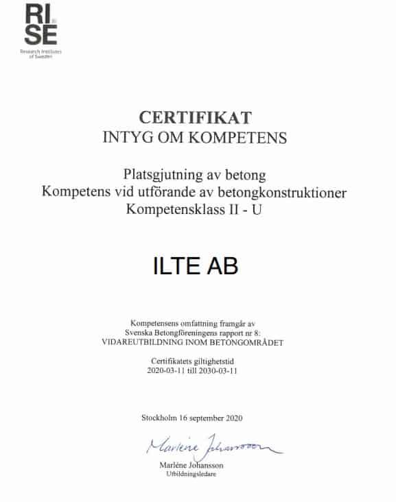 """Referensjobb """"Certifikat för betong"""" utfört av ILTE AB"""