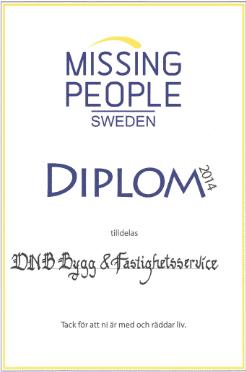 """Referensjobb """"Missing People."""" utfört av DNB Bygg & Fastighetsservice AB"""