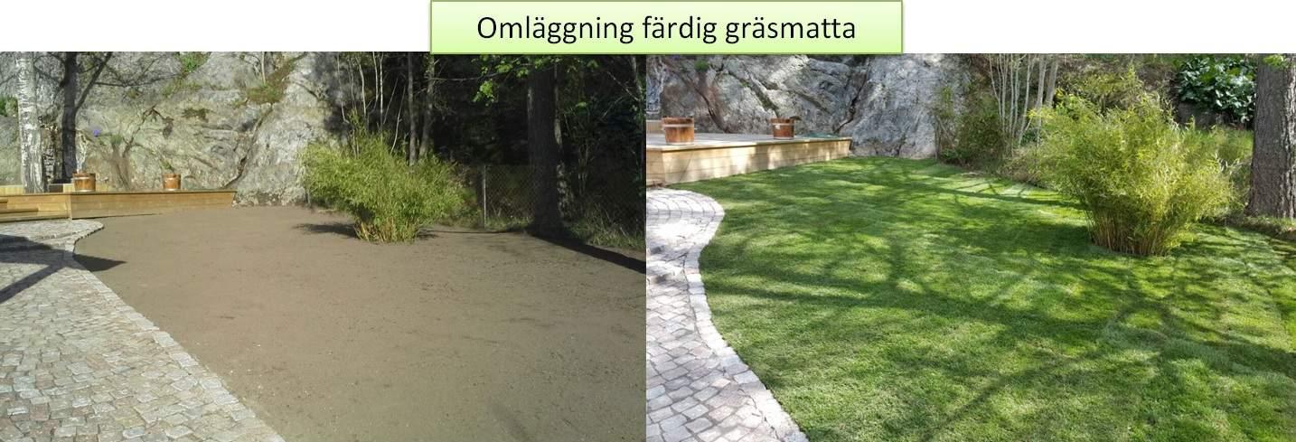 """Referensjobb """"Omläggning färdig gräsmatta- Tyresö"""" utfört av Gröna Bussen AB"""
