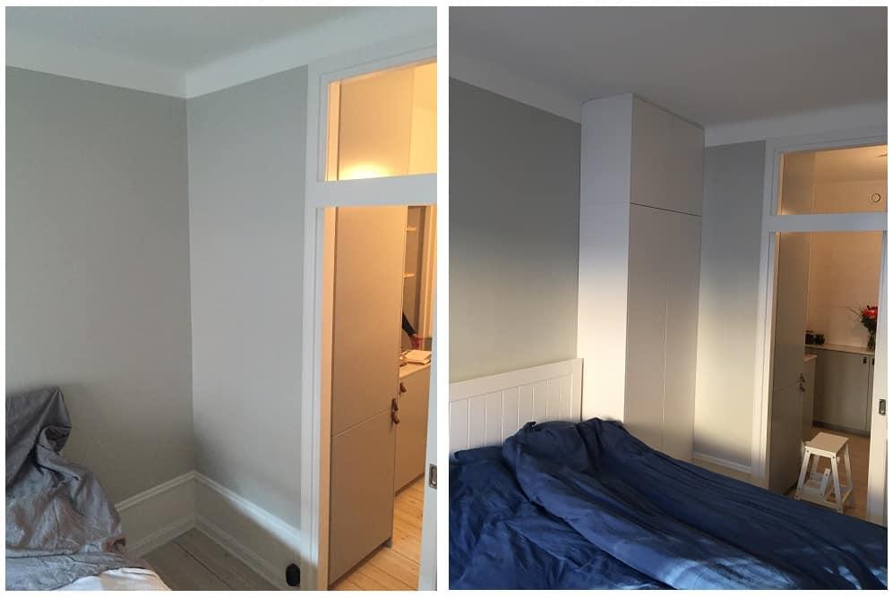 """Referensjobb """"Montering av väggfast garderob i sovrum (Ikea köksstomme)"""" utfört av B&R&O Bygg och Renovering"""