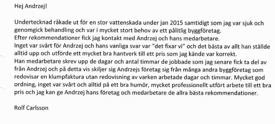 """Referensjobb """"REFERENS FRÅN KUND"""" utfört av ANKR Entreprenad AB"""