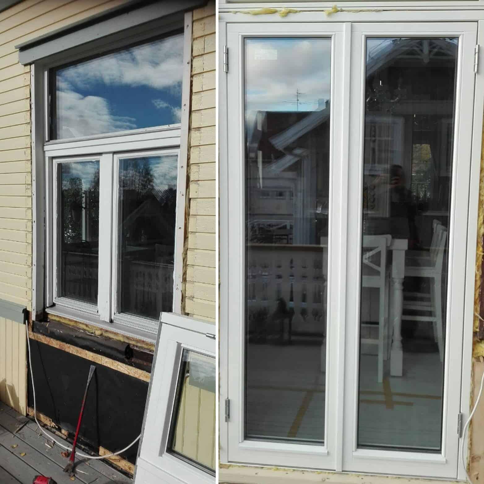 """Referensjobb """"Byte av fönster till dörr"""" utfört av Skadeservice Dalarö AB"""