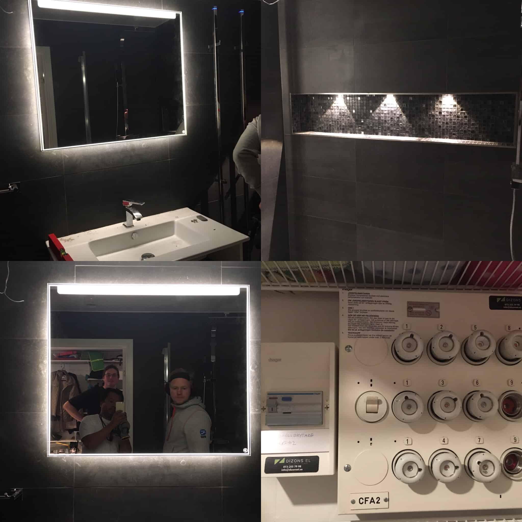 """Referensjobb """"Belysning i badrummet, LED spottar."""" utfört av Dizons EL AB"""