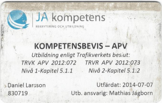 """Referensjobb """"APV"""" utfört av PA04 AB"""