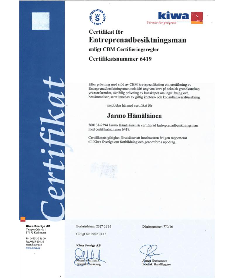 """Referensjobb """"Entreprenadbesiktning"""" utfört av Jarli Consulting HB"""