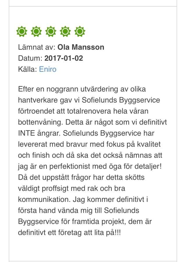 "Referensjobb ""Bara"" utfört av Sofielunds Byggservice AB"