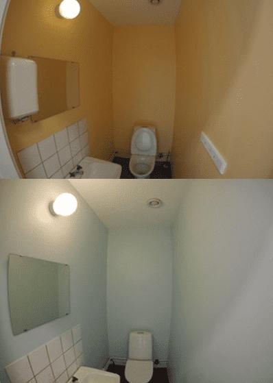 """Referensjobb """"Målning badrum före och efter bild:"""" utfört av Mineur fastigheter AB"""
