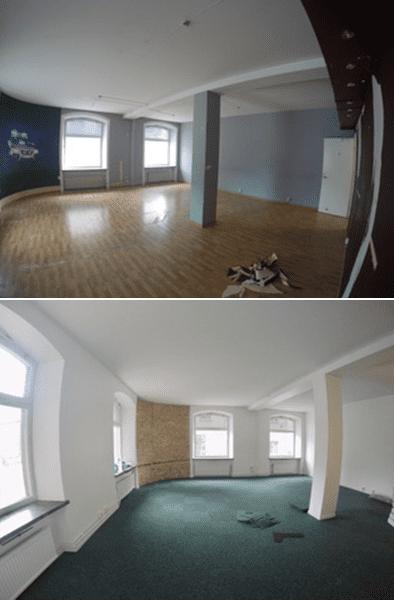 """Referensjobb """"Framtagning tegelvägg, målning och nya lister, före och efter bild: """" utfört av Mineur fastigheter AB"""